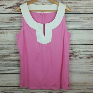 Lilly Pulitzer XL Pink/White Sleeveless Top